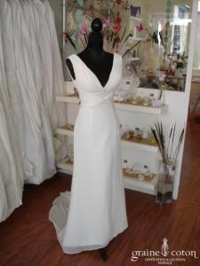 Création - Robe une pièce en mousseline ivoire